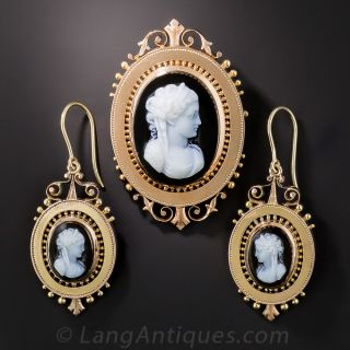 Victorian Cameo Brooch/Pendant and Earring Suite in Rose Gold - 2