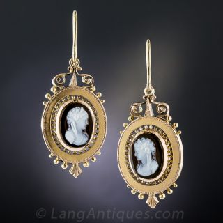Victorian Cameo Brooch/Pendant and Earring Suite in Rose Gold