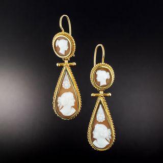 Victorian Cameo Dangle Earrings - 1