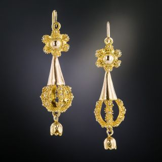 Victorian Canetille Dangle Earrings - 1