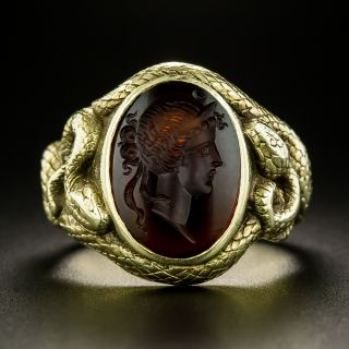 Victorian Carnelian Intaglio Snake Ring by Durand & Co. - 3