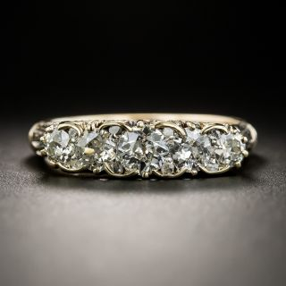 Victorian Carved Five-Stone Diamond Ring - Size 9 - 2
