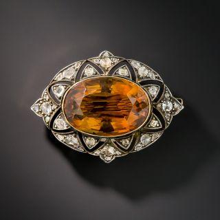 Victorian Citrine and Diamond Brooch - 2