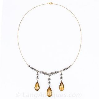 Victorian Citrine & Diamond Necklace