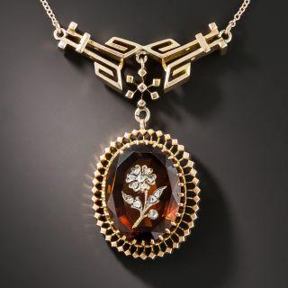 Victorian Citrine Flower Intaglio Necklace - 2