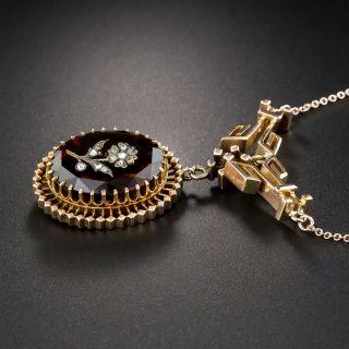Victorian Citrine Flower Intaglio Necklace