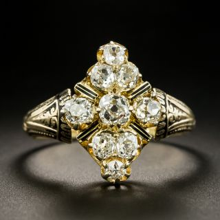 Victorian Cluster Diamond And Enamel Dinner Ring, Size 9 3/4 - 2