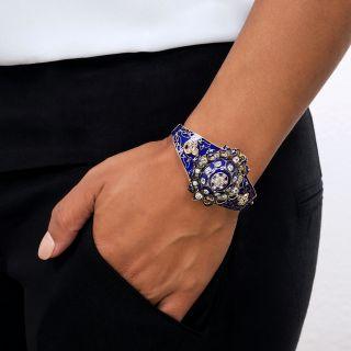 Victorian Cobalt Enamel and Diamond Bangle Bracelet