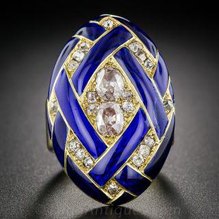 Victorian Cobalt Enamel Diamond Locket Ring  - 1