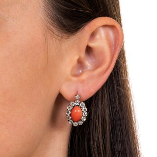 Victorian Coral and Diamond Halo Earrings