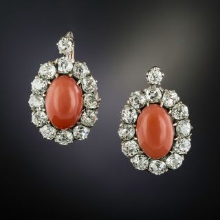 Victorian Coral and Diamond Halo Earrings - 2