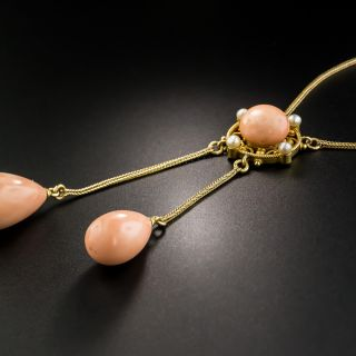 Victorian Coral and Pearl Negligee Necklace