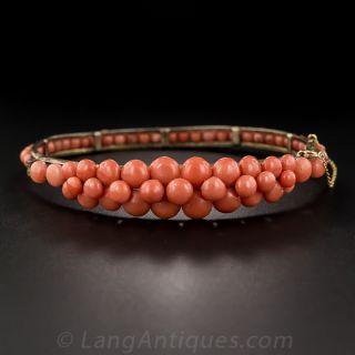 Victorian Coral Bangle Bracelet - 2