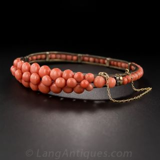 Victorian Coral Bangle Bracelet