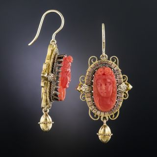Victorian Coral Cameo Earrings