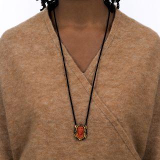 Victorian Coral Cameo Pendant Necklace