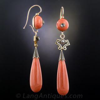 Victorian Coral, Diamond and Enamel Drop Earrings
