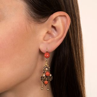 Victorian Enameled Coral and Pearl Drop Earrings