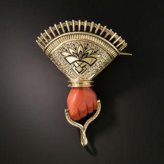 Victorian Coral Hand Brooch