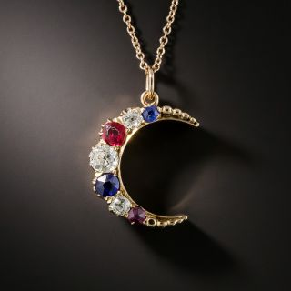 Victorian Crescent Moon Pendant with Diamonds, Sapphires, and Rubies - 2