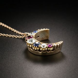 Victorian Crescent Moon Pendant with Diamonds, Sapphires, and Rubies