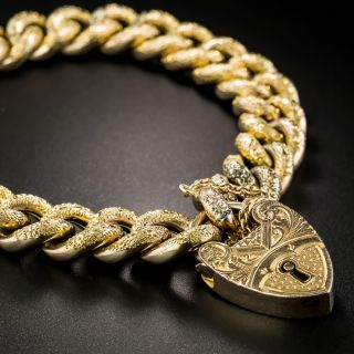 Victorian Curb Bracelet with Heart Lock