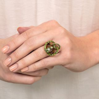 Victorian Demantoid Garnet and Diamond Snake Ring