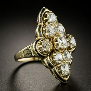 Victorian Diamond and Black Enamel Cluster Ring