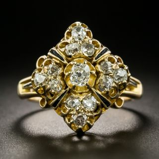 Victorian Diamond and Black Enamel Cluster Ring - 2