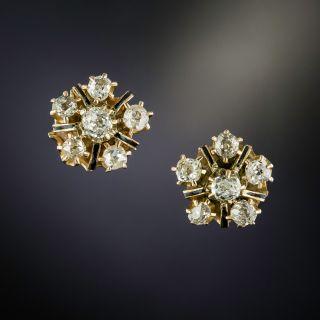 Victorian Diamond and Black Enamel Cluster Stud Earrings - 2