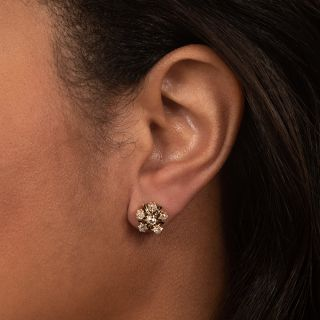 Victorian Diamond and Black Enamel Cluster Stud Earrings