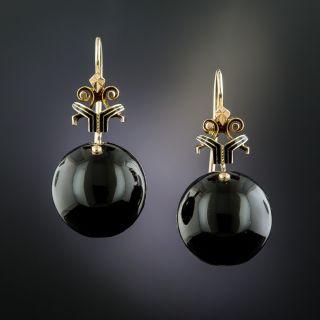 Victorian Diamond and Black Enamel Coach Cover Earrings