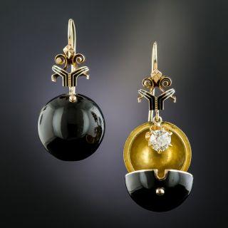 Victorian Diamond and Black Enamel Coach Cover Earrings  - 3
