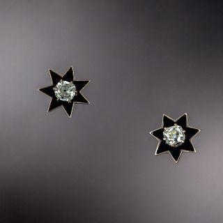 Victorian Diamond and Black Enamel Star Earrings - 1