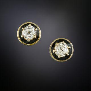 Victorian Diamond and Black Enamel Stud Earrings - 2
