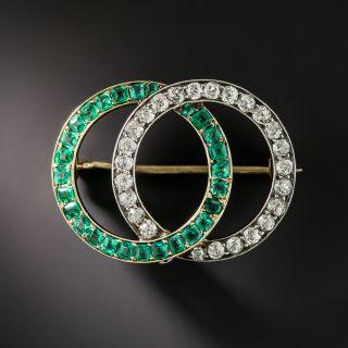 Victorian Diamond and Emerald Brooch - 2