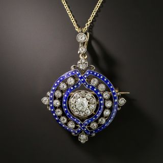 Victorian Diamond and Enamel Pendant/Brooch - 2