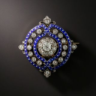 Victorian Diamond and Enamel Pendant/Brooch