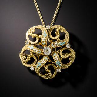 Victorian Diamond and Enamel Pendant by Krementz - 2