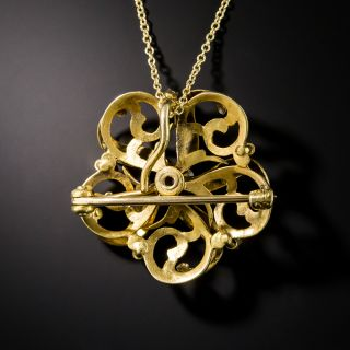 Victorian Diamond and Enamel Pendant by Krementz