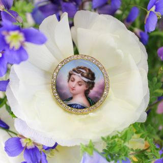 Victorian Diamond and Enamel Portrait Brooch