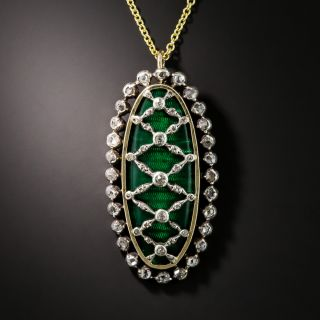 Victorian Diamond and Green Enamel Pendant - 2