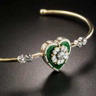 Victorian Guilloche Enamel Diamond Heart Bracelet - 2
