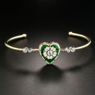 Victorian Diamond and Guilloche Enamel Heart Bracelet