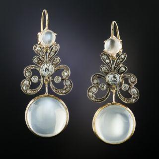 Edwardian Diamond and Moonstone Drop Earrings - 2
