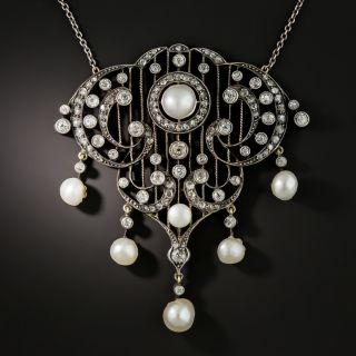 Victorian Diamond and Natural Pearl Necklace - 2