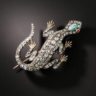 Victorian Diamond and Opal Lizard Brooch - 1