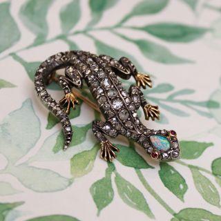 Victorian Diamond and Opal Lizard Brooch