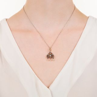 Victorian Diamond and Pearl Drop Necklace