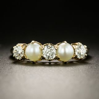 Victorian Diamond and Pearl Five-Stone Ring - 3
